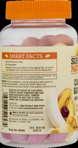 Sundown Naturals Calcium Plus Vitamin D3 Peach Banana & Cherry Flavored Gummies Perspective: left