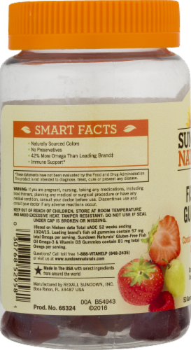 Sundown Naturals Fish Oil + Omega-3 Grape Strawberry & Raspberry Flavored Gummies Perspective: left