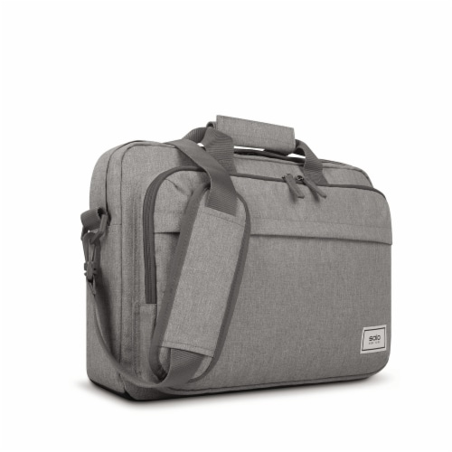 Solo Re:new Padded Briefcase - Gray Perspective: left