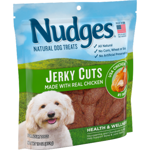 Nudges Natural Jerky Cuts with Real Chicken Adult Dog Treats Perspective: left