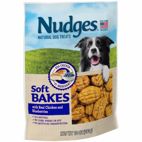 Nudges Soft Bakes with Real Chicken and Blueberries Natural Dog Treats Perspective: left