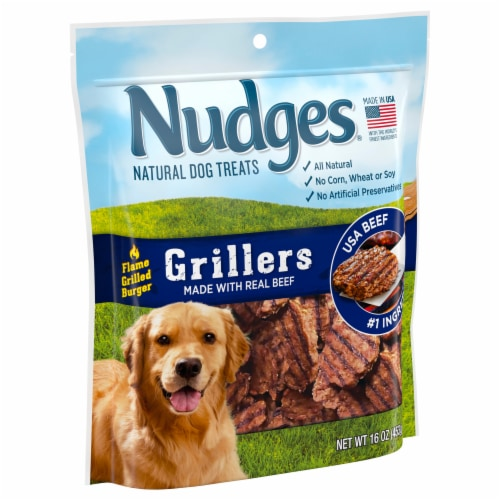 Nudges Grillers Real Beef Natural Dog Treats Perspective: left