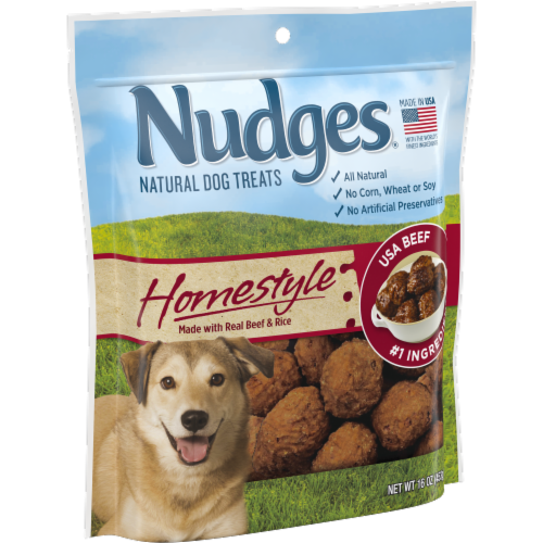 Nudges Homestyle Beef & Rice Natural Dog Treats Perspective: left