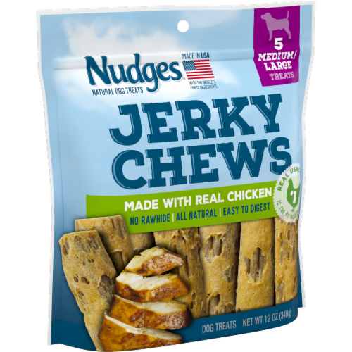Nudges Natural Chicken Jerky Chews Dog Treats Perspective: left