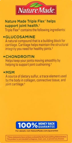 Nature Made Triple Flex Glucosamine 1500 mg Chondroitin 800 mg & MSM 750 mg Caplets Perspective: left