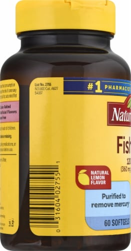 Nature Made Fish Oil Omega-3 Softgels 1200mg 60 Count Perspective: left