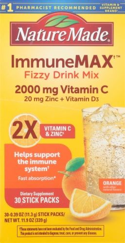 Nature Made Immune Max Orange Flavored Fizzy Drink Mix Packets Perspective: left