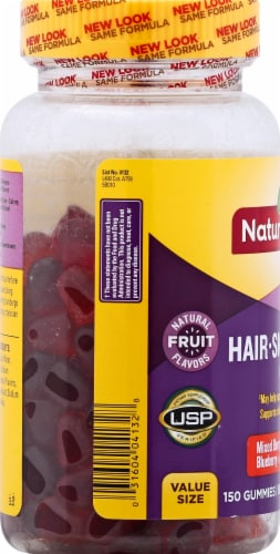 Nature Made Hair Skin Nails Mixed Berry Cranberry & Blueberry Gummies Perspective: left