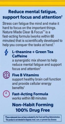 Nature Made Clear & Focus Lemon Mint Chewable Tablets Perspective: left