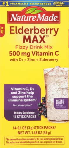 Nature Made Elderberry Max Fizzy Drink Mix Stick Packs Perspective: left