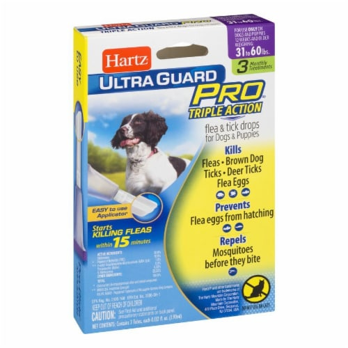 Hartz Ultra Guard Pro Triple Action Flea and Tick Drops for Dogs 31-60 Lbs Perspective: left