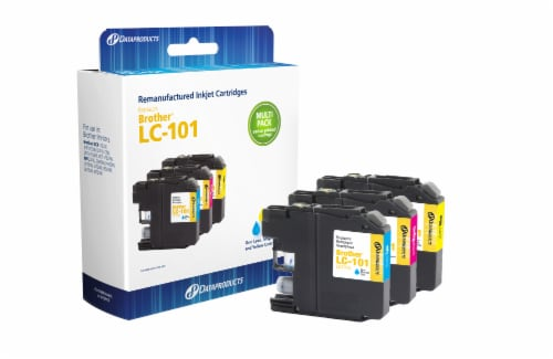 Dataproducts Remanufactured Inkjet Cartridges for Brother LC-101 Multi-Pack Perspective: left
