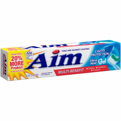 Aim Multi-Benefit Cavity Protection Ultra Mint Gel Toothpaste Perspective: left