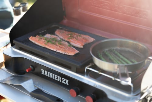 Camp Chef Rainier Camp Stove with Two Burner Grill/Griddle Combo Perspective: left