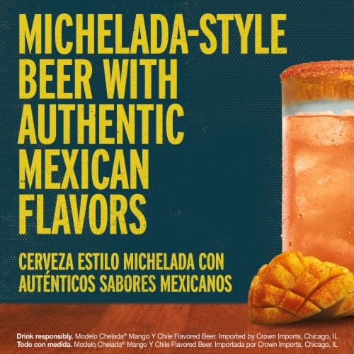 Modelo Chelada Mango y Chile Imported Beer Perspective: left