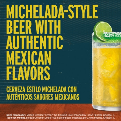 Modelo Chelada Limon y Sal Mexican Import Beer Perspective: left