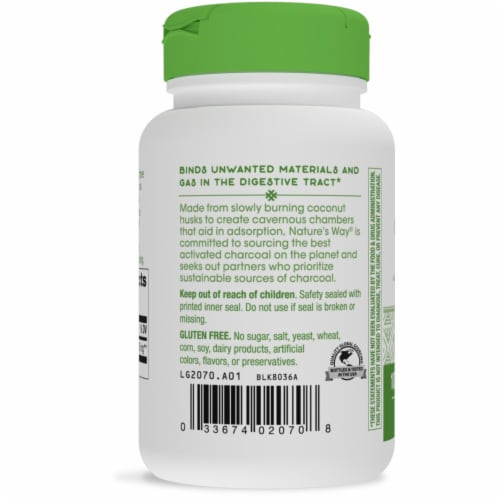 Nature's Way Activated Charcoal Capsules Perspective: left