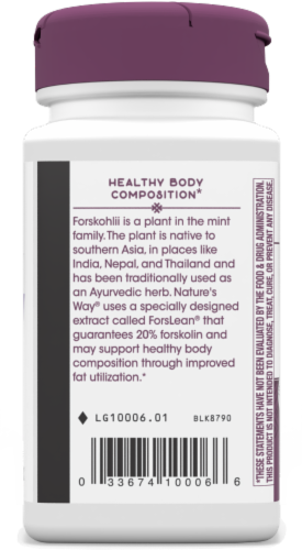 Nature's Way Forskohlii Dietary Supplement Vegan Capsules 125mg Perspective: left