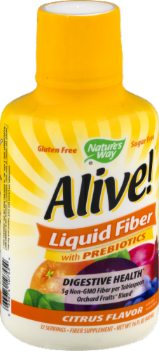 Nature's Way Alive! Citrus Flavor Liquid Fiber with Prebiotcs Perspective: left