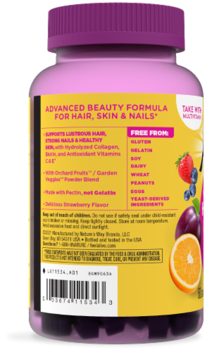 Nature's Way Alive! Hair Skin & Nails Gummies Perspective: left
