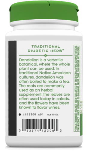 Nature's Way Dandelion Root Capsules 1575 mg Perspective: left