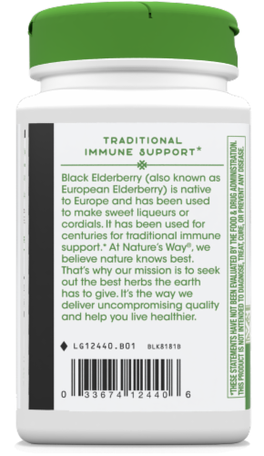 Nature's Way Elderberry Immune Support Capsules 1150mg Perspective: left