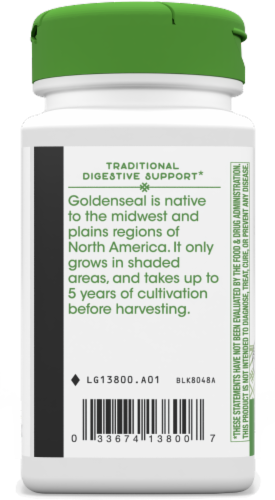 Nature's Way Goldenseal Root Capsules 570 mg Perspective: left