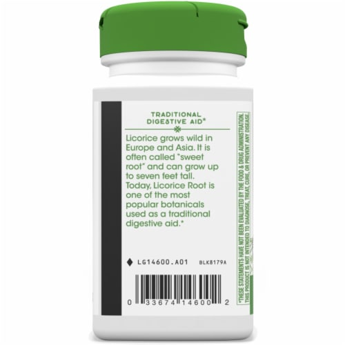 Nature's Way Licorice Root Capsules 450 mg Perspective: left