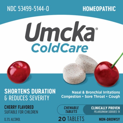 Nature's Way Umcka Cold Care Cherry Flavor Chewable Tablets Perspective: left
