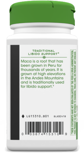 Nature's Way Maca Root Capsules 525mg Perspective: left