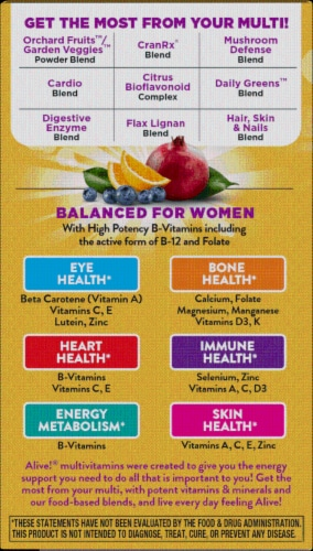Nature's Way Alive! Women's Once Daily Ultra Potency Multi-Vitamin Tablets Perspective: left