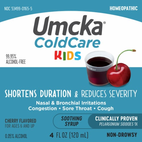 Nature's Way Children's Umcka Cold Care Cherry Flavor Syrup Perspective: left