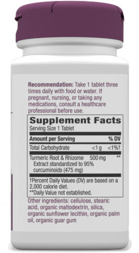 Nature's Way Tumeric Tablets 500mg Perspective: left