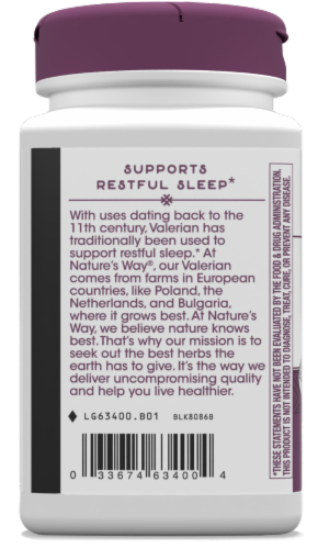 Nature's Way Valerian Capsules 220mg Perspective: left