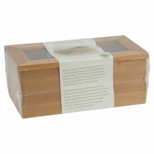 BIA Cordon Bleu Natural Living Bamboo 3 Compartment Tea Storage Box Perspective: left