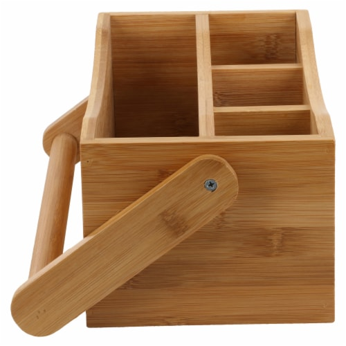 Natural Living Bamboo 4-section Flatware Caddy with Handle Perspective: left