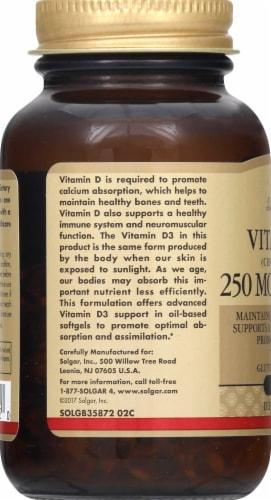 Solgar Vitamin D3 10000 IU Dietary Supplement Softgels Perspective: left