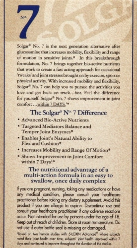 Solgar No 7 Joint Support Capsules Perspective: left