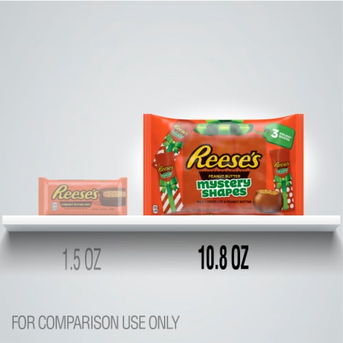 Reese's Milk Chocolate Peanut Butter Mystery Shapes Holiday Candy Perspective: left