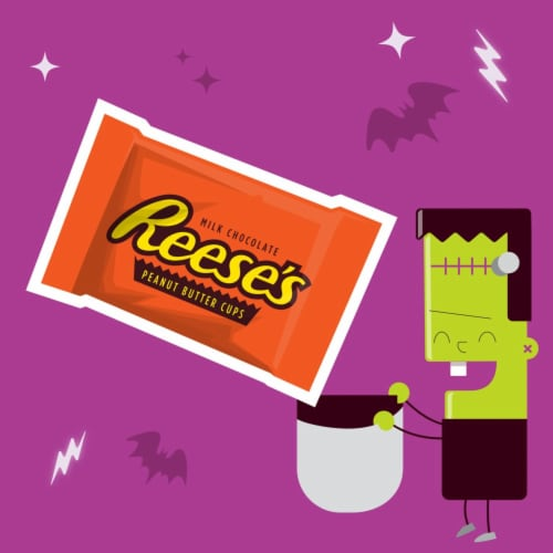 Reese's Snack Size Milk Chocolate & Peanut Butter Cups Candy Perspective: left