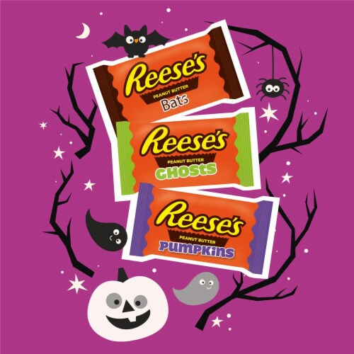Reese's Milk Chocolate Peanut Butter Assorted Halloween Shapes Perspective: left