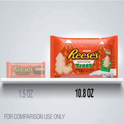 Reese's White Creme Peanut Butter Trees Holiday Candy Perspective: left