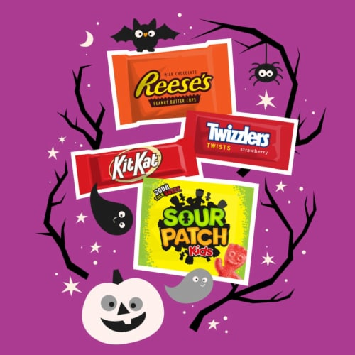 Hershey's Reese's Kit Kat Sour Patch Kids Twizzlers Candy Assortment Perspective: left