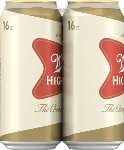 Miller High Life American Lager Beer 6 Cans Perspective: left