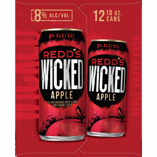 Redd's Wicked Apple Golden Ale Beer 12 Cans Perspective: left