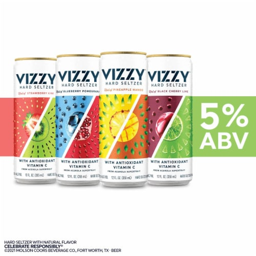 Vizzy Hard Seltzer Variety Pack 12 Cans Perspective: left