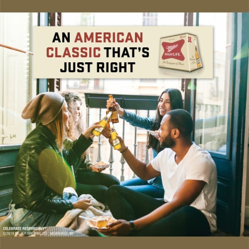 Miller High Life American Lager Beer Perspective: left