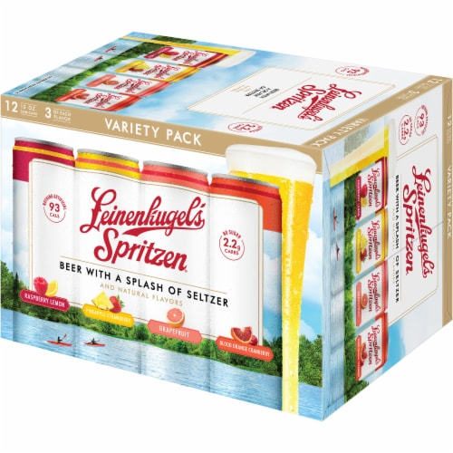 Leinenkugel's Spritzen Raspberry Lemon Pineapple Strawberry and Grapefruit Beer Variety Pack Perspective: left