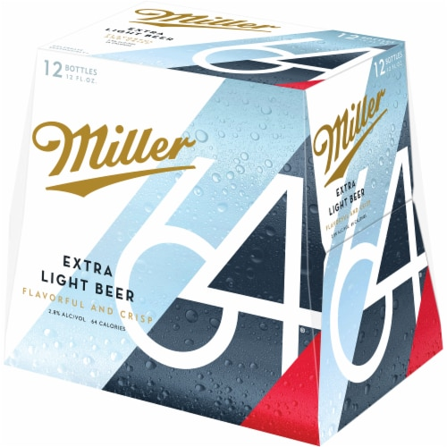Miller64 Extra Light Lager Beer Perspective: left