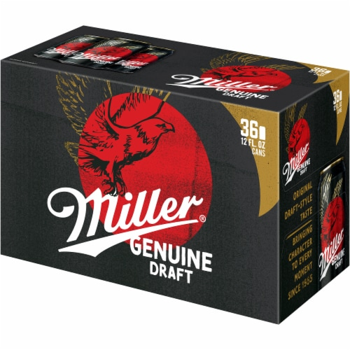 Miller Genuine Draft American Lager Beer 36 Cans Perspective: left